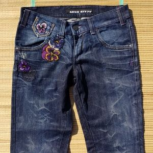 New Miss Sixty Italy Floral Sequin Embroider Jeans